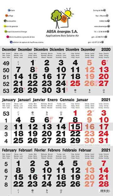 Calendrier 1er Trimestre 2020.Calendriers Publicitaires Objet Publicitaire Calendrier